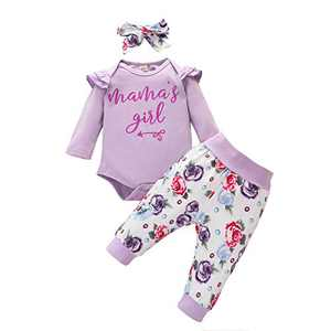 Toddler Girl Causal Outfits Long Sleeve Mama's Girl Letter Romper Top+Floral Long Pants+Floral Headband 3PCS Toddler Clothes for Fall Purple 12-18months