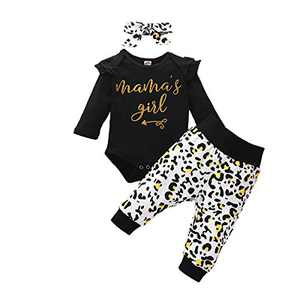 Newborn Girl Outfits Long Sleeve Mama's Girl Letter Romper Top+Leopard Long Pants+Leopard Headband 3PCS Newborn Clothes for Fall Black 0-6months