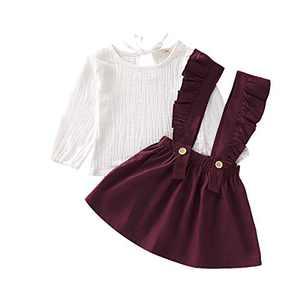 Toddler Girl Skirt Set Long Sleeve Solid Cotton Linen T-Shirt Top+1PC Suspender Skirt 2PCS Girl Fall Dress Set for Fall (Red, 12-18months)