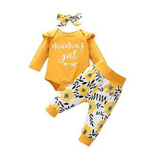 Toddler Girl Causal Outfits Long Sleeve Mama's Girl Letter Romper Top+Floral Long Pants+Floral Headband 3PCS Toddler Clothes for Fall Yellow 12-18months