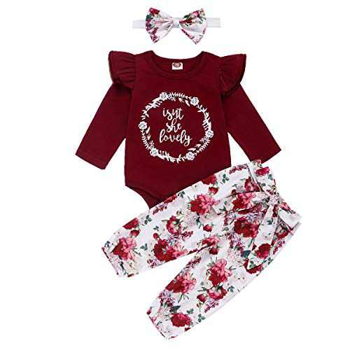 Kids Girl Floral Outfits Long Sleeve Isn't She Lovely Letter Romper Top+Floral Long Pants+Floral Headband 3PCS Little Girl Clothes for Fall Red 18-24months