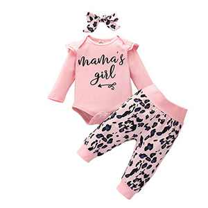 Infant Girl Clothes Long Sleeve Mama's Girl Letter Bodysuit Top+Floral Long Pants+Floral Headband 3PCS Infant Floral Outfits Pink 6-12 Months