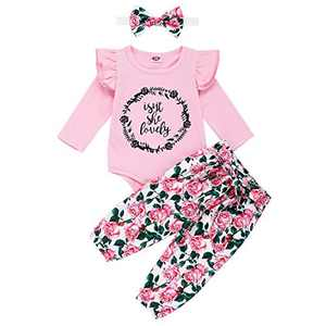Toddler Girl Causal Outfits Long Sleeve Isn't She Lovely Letter Romper Top+Floral Long Pants+Floral Headband 3PCS Toddler Clothes for Fall Pink 12-18months