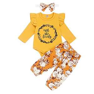 Toddler Girl Causal Outfits Long Sleeve Isn't She Lovely Letter Romper Top+Floral Long Pants+Floral Headband 3PCS Toddler Clothes for Fall Yellow 12-18months