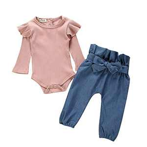 Newborn Girl Outfits Long Sleeve Solid Ruffle Fly Sleeve Romper Top +Denim Long Pants with Bow 2PCS Newborn Fall Outfits 0-6months