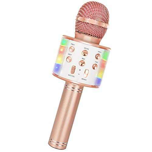 Wireless Bluetooth Karaoke Microphone, 5-in-1 Portable Handheld Mic Speaker Player Recorder with Controllable LED Lights, Adjustable Remix FM Radio for Christmas, Birthday, Home Party More (Rose Gold)