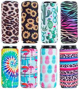 Slim Can Sleeves - Neoprene Bottle Insulator Sleeve Set of 4 Can Beverage Coolers for 12oz Energy Drink & Beer Cans (Fish) (Stripe & Pineapple)