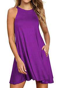 Lamilus Dresses for Women Casual Summer Loose Tshirt Beach Cover up Plain Tank Dress with Pockets (XXL,Purple-L80001)