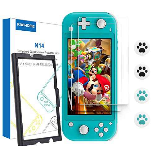 [2 Pack] Screen Protector Tempered Glass for Switch Lite 2019, KIWIHOME Transparent HD Clear Screen Protector with Application Tray & Cat Claw Thumb Grip Caps for Nintendo Switch Lite Accessories