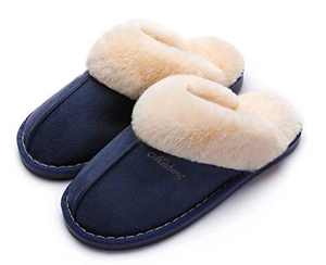 SincereWay Women's Cozy Bedroom Slippers Fuzzy House Outdoor Slippers (Navy,10.5-11)