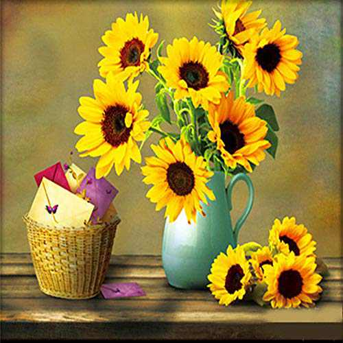 DIY 5D Diamond Painting Kits for Adults,Sunflower Full Drill Crystal Rhinestone Embroidery for Home Wall Decor(12X12in)