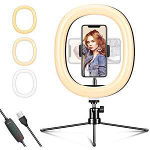 "EIVOTOR 10"" Selfie Ring Light with Tripod Stand & Phone Holder, Shooting with 3 Light Modes & 10 Brightness Level, Dimmable Desk Ring Light for Makeup/Photography/YouTube Videos/Vlog/TIK Tok/Live"