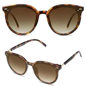 SOJOS Classic Round Retro Plastic Frame Vintage Large Sunglasses BLOSSOM SJ2067 with Yellow Tortoise Frame/Gradient Brown Lens