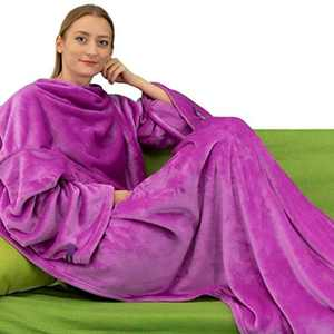 Winthome Wearable Blanket with Sleeves. Soft and Warm for Sofa Lovers. Two Sizes, with Elastic Cuffs, Hook and Loop Fastener (Purple, 140x170cm)