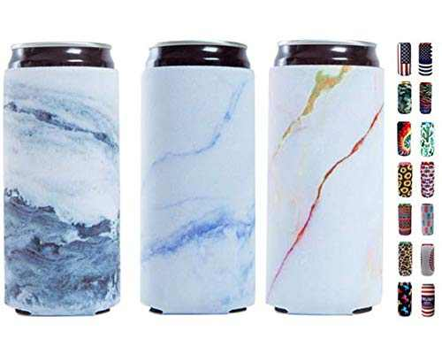 Slim Can Sleeves - Neoprene Bottle Insulator Sleeve Set of 2 Can Beverage Coolers for 12oz Energy Drink & Beer Cans (Marble)