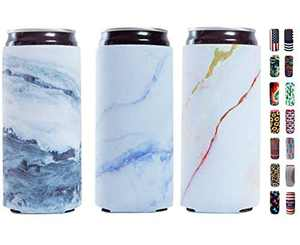 Slim Can Sleeves - Neoprene Bottle Insulator Sleeve Set of 2 Can Beverage Coolers for 12oz Energy Drink & Beer Cans (Marble)