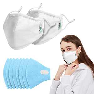 Cloth Face Mask Reusable Cotton Masks with 8PCS Filters, 2PCS Washable Face Mask for Teens & Adult Protect from Dust, Pollen and Pet Dander(2, Medium (White))