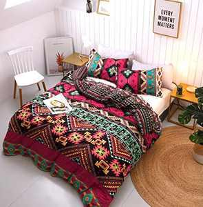 Boho Duvet Cover Set - 3pc Bohemian Bedding Set - 1 Duvet Cover King size +2 Pillow Shams – Farmhouse Multicolored Floral Duvet Set - Rust Duvet Set -Hippie Aztec Comforter (Duvet Insert Not Included)