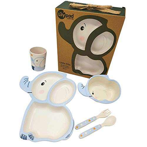 LILY PAD + LITTLE MR - Eco Friendly Bamboo Fiber Dinnerware Set for Boys and Girls (Little Ellie Elephant) | Toddler Gifts | Baby Bowls | Kids Divided Plate, Bowl, Utensils, Cup | Kids Dishes