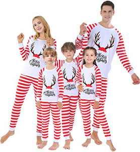 Matching Family Christmas Pajamas Striped Deer Clothes Xmas Holiday Pyjamas 3t