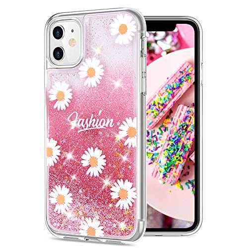 Carantee Case for iPhone 11 Case Glitter Liquid Quicksand Case for Girls, Bling Sparkle Floating iPhone 11 Case Starry Shining Soft TPU Case iPhone 11 Case Floral for Women (Daisies Pink)