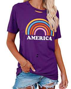 Corfrute Womens Graphic Letter Print T-Shirts Good Vibes Rainbow Short Sleeve Tops Casual Blouses(Purple,S)
