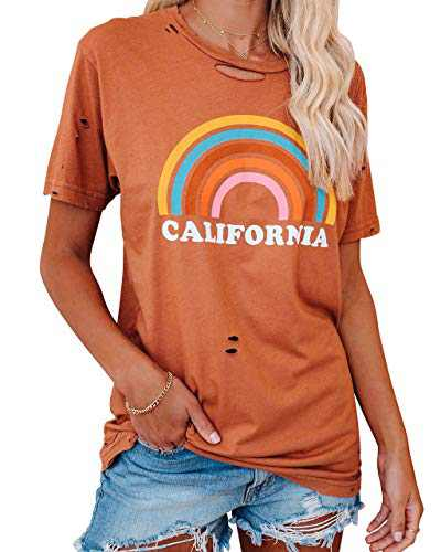 Corfrute Womens Graphic Letter Print T-Shirts Good Vibes Rainbow Short Sleeve Tops Casual Blouses(Orange,L)