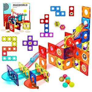 HOMOFY Magnetic Tiles 115Pcs Pipe Magnetic Blocks for Kids 3D Magnetic Building Blocks Tiles Set-Magnet Marble Run with 8 Colored Plastic Marbles STEM Toys for 3 4 5 6 Year Old Boys Gilrs Gifts