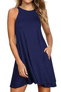 Lamilus Dresses for Women Casual Summer Loose Tshirt Beach Cover up Plain Tank Dress with Pockets (XL,Navy Blue-L80001)