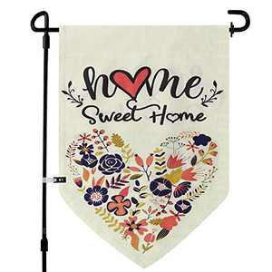 Home Sweet Home Garden Flags for outside, Yard Flags Vertical Double Sided 12.5 x 18In, 28x40In Farmhouse Burlap Small Garden Flags, Summer Spring Garden Decorations (28x40in, Lovely Heart)