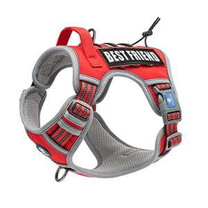 WALKTOFINE Dog Harness Adjustable No-Pull Pet Harness Reflective Working Training Tactical Dog Harness Red S.