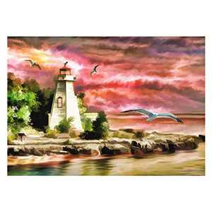 DIY 5D Diamond Painting by Number Kits, DIY Gifts for Adults and Kids,Lightouse Ocean Cross Stitch Full Drill Crystal Rhinestone Embroidery Pictures Arts Craft for Home Wall Decor (16x12in)