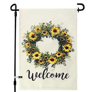 augtarlion Magnolia Leaves, Floral, Sunflower Welcome Wreath Garden Flags for Outside, Yard Flags Vertical Double Sided 12.5 x 18in, 28x40in Farmhouse Burlap, Garden Decorations (28x40in, Sunflower)
