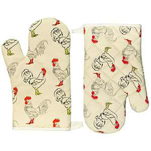 FINOHOPE Oven Mitts Funny Cute Cotton Heat Resistant 12 Inch for Kitchen Cooking Baking, Rooster Pattern