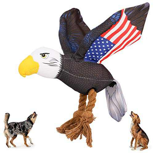 Beewarm Squeaky Dog Chew Toys for Large Medium Small Dogs- Lifetime Replacement Guarantee - Stuffed Animals Rope Chew Toy for Puppy American Eagle