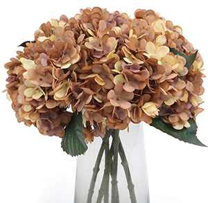 Kimura's Cabin Fake Flowers Vintage Artificial Silk Hydrangea Flowers Bouquets Faux Hydrangea Stems 5Pcs for Home Wedding Party Table Core Decoration (Autumn Yellow, Pack of 5)