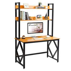GreenForest Computer Desk with Hutch and Bookshelf 47 inches Study Writing Desk for Home and Office PC Laptop Workstation Brown