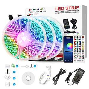 50ft Led Strip Lights 10m with 44 Keys IR Remote and 12V Power Supply Flexible Color Changing 5050 RGB 300 LEDs Light Strips Kit for Home, Bedroom, Kitchen,DIY Decoration