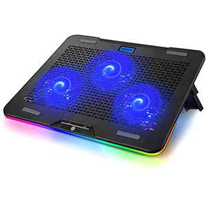KEROLFFU RGB Rainbow Laptop Cooling Pad for 10-17.3 Inch Notebook, Gaming Laptop Cooler Cooling Fan Pad with 3 Quiet Fans and Touch Control, Pure Metal Panel Portable Cooler
