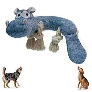 Squeaky Dog Toys Dog Chew Toy Hippo Dog Stuffed Rope Chew Toy Dog Teethbrush Dental Chew Toy for Small Medium Large Doggy or Puppy