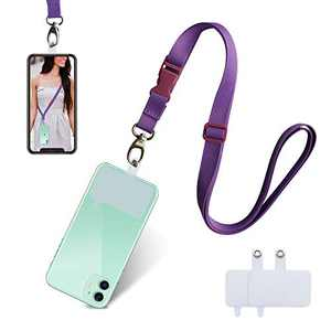 UKON Cell Phone Lanyard Adjustable Crossbody Phone Strap Universal Neck Around Lanyard Shoulder Strap with 2 Reusable Clear PVC Patchs Compatible with Most Smartphone (Purple)