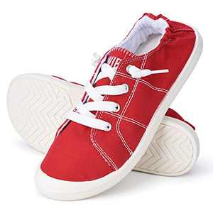 Sowift Women's Low Top Canvas Shoes Slip-On Comfort Lightweight Sneakers Red