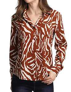 ruisin V Neck Blouse for Women Long Sleeve Button Down Shirt Striped Tunic Tops Brown 3XL