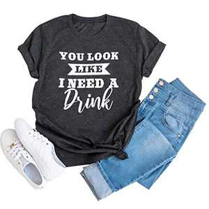 Womens Hiking Camping Shirt Funny Cute Graphic Tee Short Sleeve Letter Print Casual Tops (Grey-7, S)