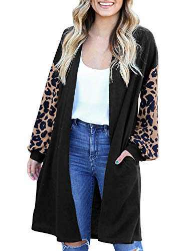 LookbookStore Women's Casual Open Front Patchwork Long Knit Cardigan Pocket Outerwear Black Size Medium