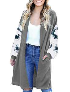 LookbookStore Women's Casual Open Front Patchwork Long Knit Cardigan Pocket Outerwear Grey Size Large
