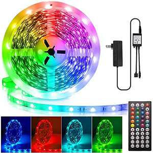 LED Light Strips 50 Feet, Led Lights for Bedroom 50ft, Flexible Color Changing LED Tape Light Kit 5050 RGB LED Light Strip with 24V Power Supply 44-Key Remote for Party Home Bedroom Party Decoration