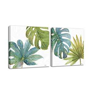 """Canvas Wall Art Green Leaf Painting Living Room Bedroom Bathroom Plant Contemporary Art Works Can be Hung Home Office Wall decor - 20""""x20""""x2pcs"""