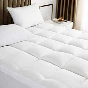 Extra Thick Mattress Topper, Cooling Mattress Pad Cover, 400TC Cotton Pillow Top with Breathable Spiral Fiber Filling, Queen