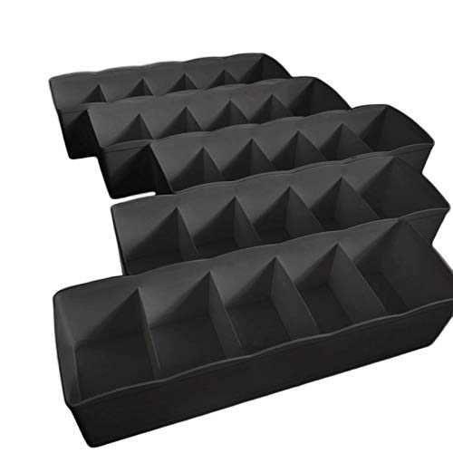 Uncluttered Designs Drawer Organizers (5 Set) With 5-Grid Pattern In Stackable Durable Plastic For Underwear Crafts Baby Clothes Office Bathroom & Under Sink Storage (Black)